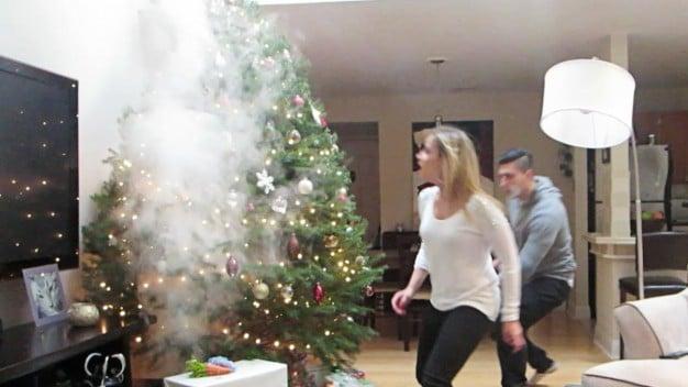 LOL: Smoking Christmas Tree Prank (Watch)