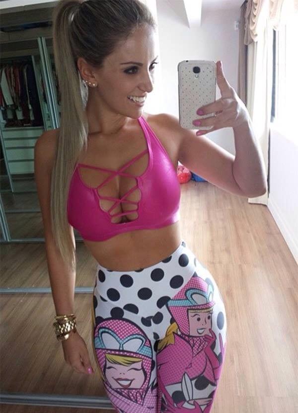 Hot Blonde Selfie Yoga Shot
