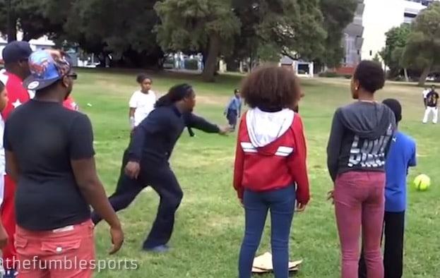 Marshawn Lynch Goes Kickball Beast Mode (Video)