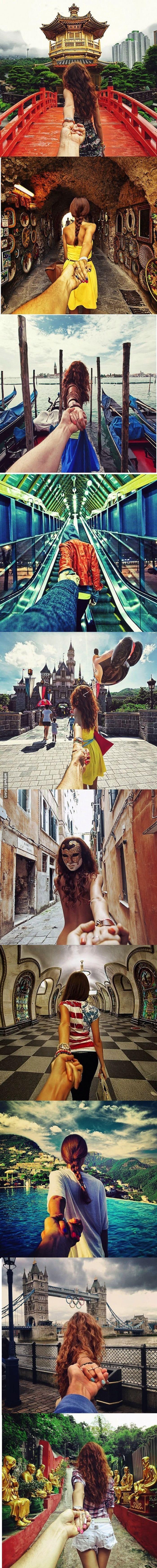 Girlfriend Leading Boyfriend Around the World