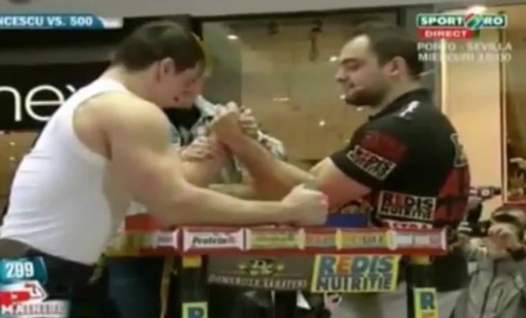 Romanian Pro Arm Wrestler vs Professional Body Builder (Video)