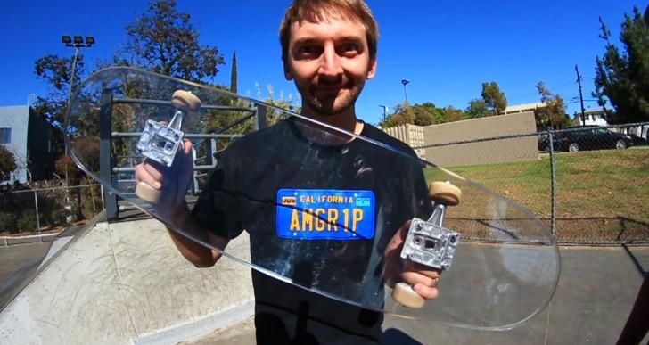 Would You Trust a Glass, Bulletproof Skateboard? (Video)