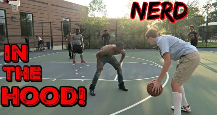 Nerd Steps Up and Plays Basketball in the Hood and the Results are Nuts (Video)